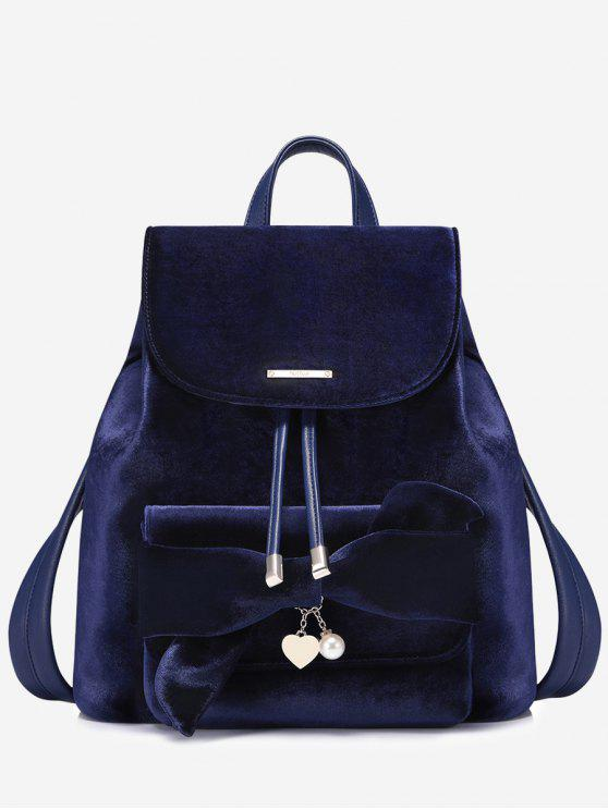 fancy Faux Pearl Top Handle Heart String Backpack - SAPPHIRE BLUE