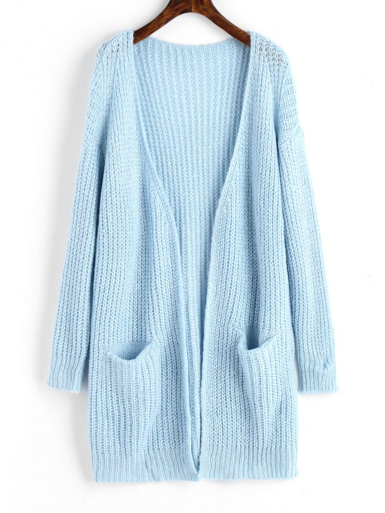 Chunky Open Front Cardigan With Pockets LIGHT BLUE: Sweaters ONE ...
