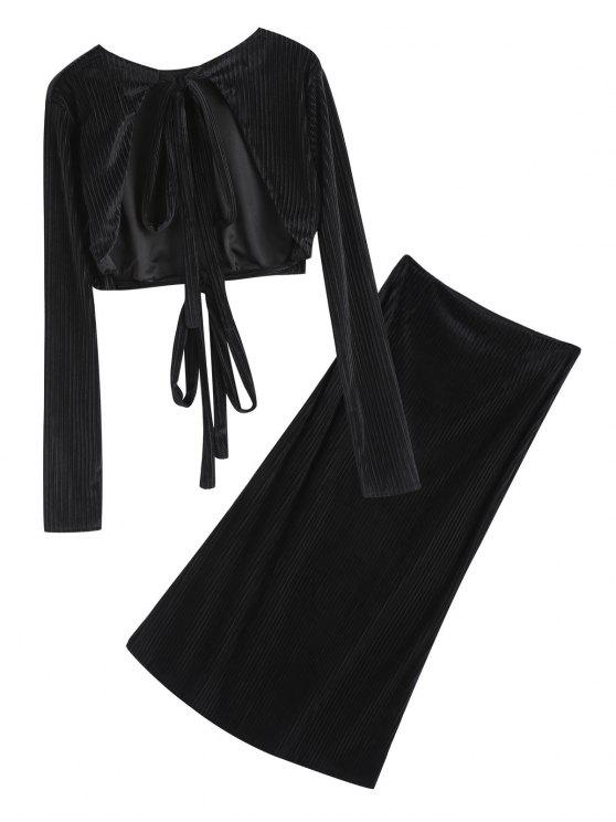 trendy Open Back Velvet Cropped Top and Pencil Maxi Skirt - BLACK L
