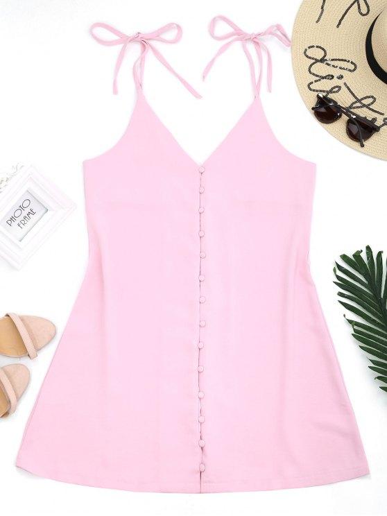 lady Button Up Slip Dress - PINK M