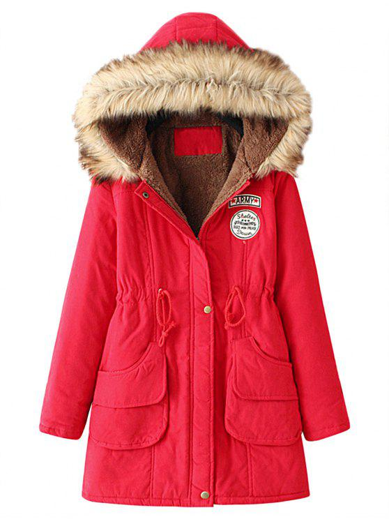 buy Snap Button Fur Collar Parka Coat - RED XL