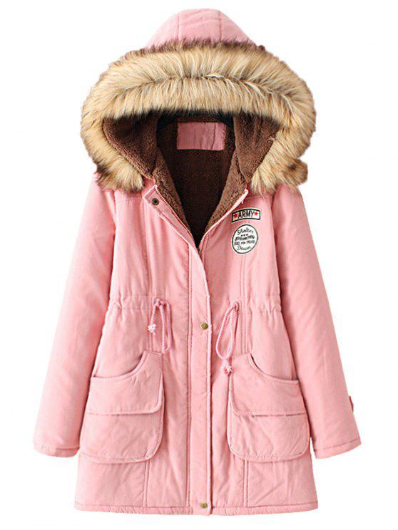 ladies Snap Button Fur Collar Parka Coat - PINK L