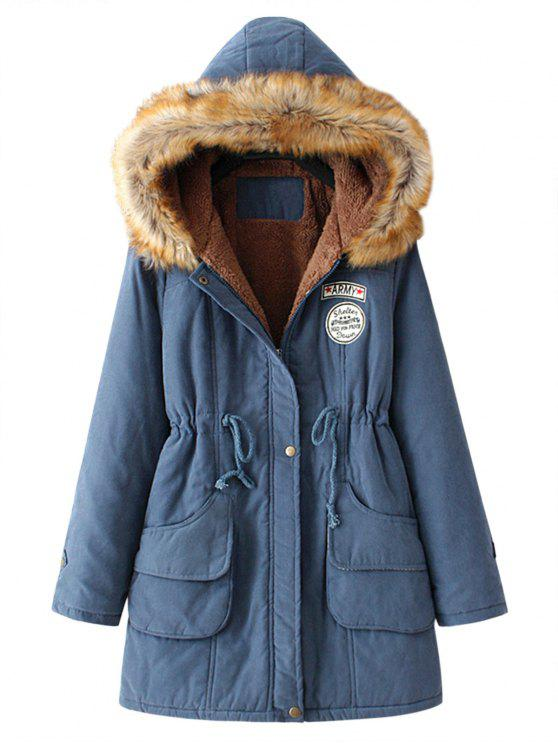 outfit Snap Button Fur Collar Parka Coat - CADETBLUE M