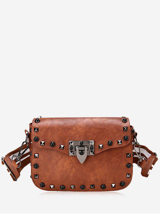 online Striped Belt Rivets Crossbody Bag - BROWN
