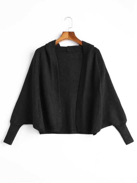 shops Open Front Plain Hooded Cardigan - BLACK ONE SIZE