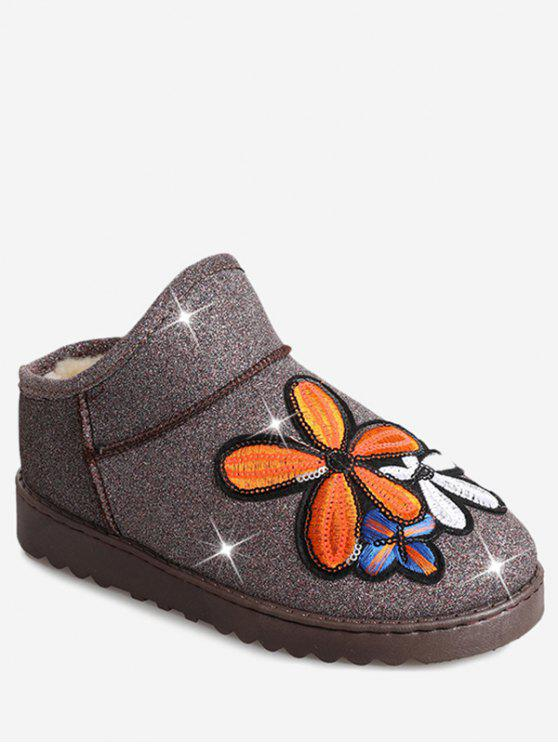 buy Flower Sequined Cloth Embroidered Snow Boots - PAPAYA 40