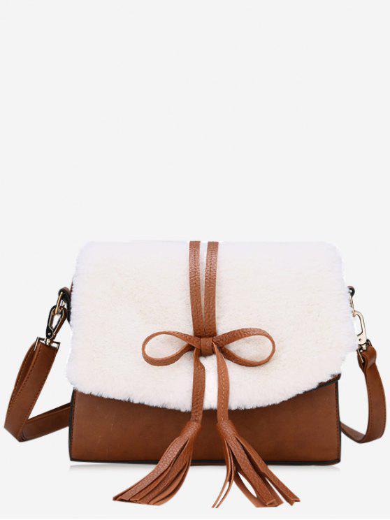 حقيبة كروسبودي مزينة بشرابتين وفيونكة - أبيض