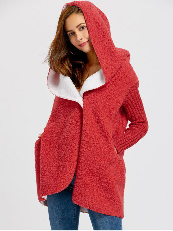 ladies One Button Shearling Hooded Coat - RED ONE SIZE