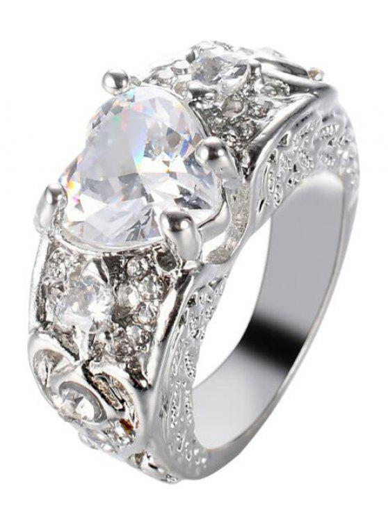 Inciso Faux Gem Heart Finger Ring - Bianco 9