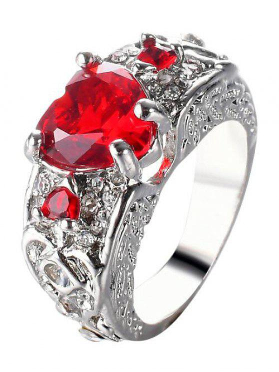 womens Engraved Faux Gem Heart Finger Ring - RED 7