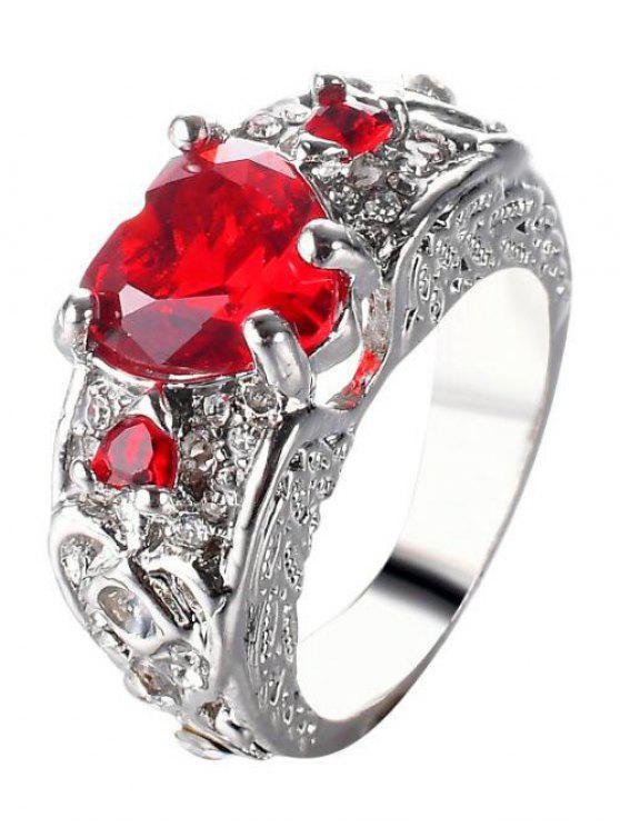 Anel de dedo de coração com gema de Faux gravado - Vermelho 7