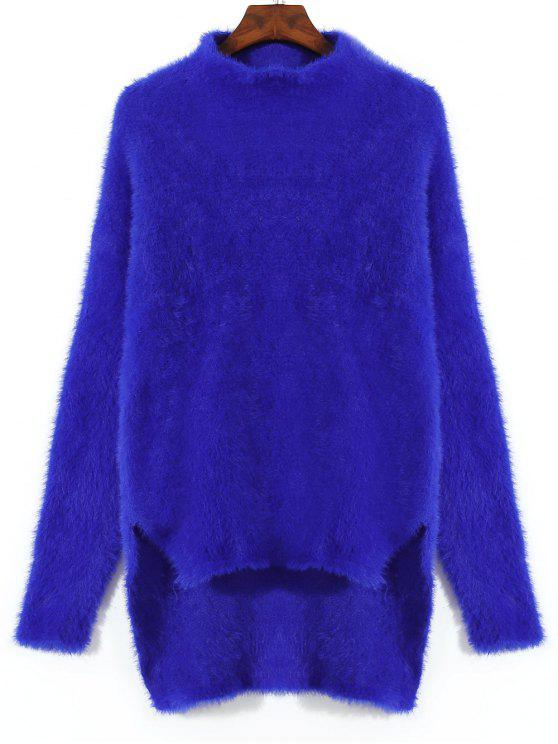sale Slit High Low Mohair Sweater - ROYAL ONE SIZE