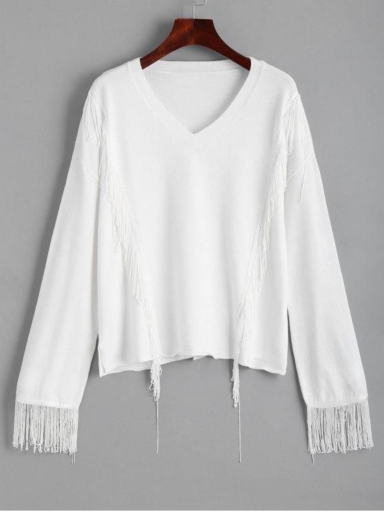 سويت غارق الرقبة بلوفر - أبيض XL