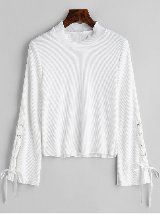 women High Neck Lace Up Sleeve Ribbed Knitwear - WHITE M