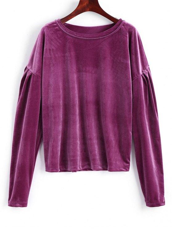 hot Drop Shoulder Crushed Velvet Sweatshirt - PURPLE RED XL