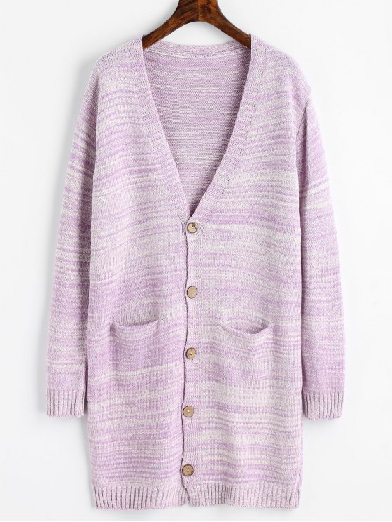 unique Plunging Neck Longline Cardigan with Pockets - LIGHT PURPLE ONE SIZE
