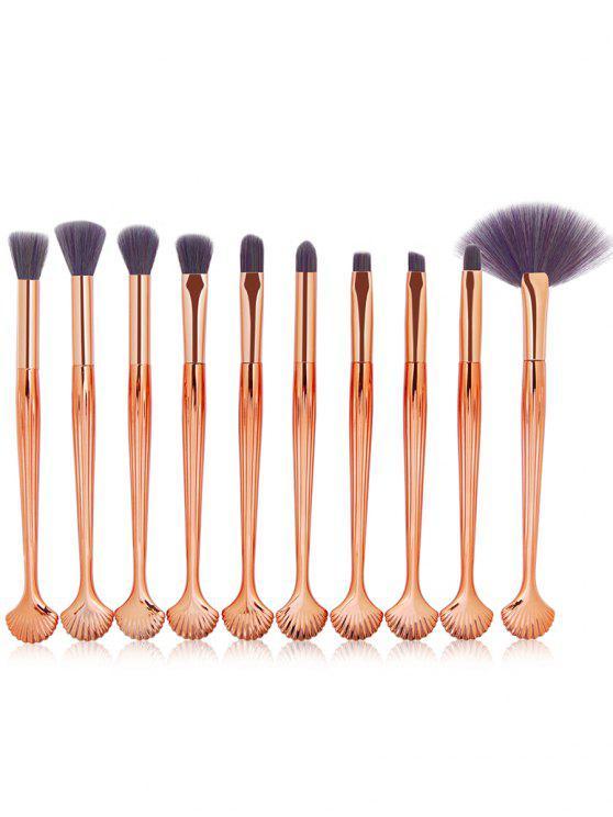 Set de cepillos de maquillaje embellecidos con forma de concha de 10 piezas - Púrpura