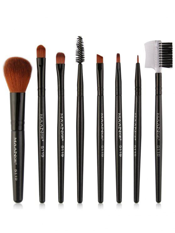 8Pcs Multifunctional Eye Makeup Brushes Set - Preto