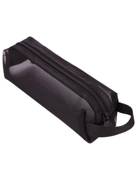 متعددة الوظائف أسود شبكة سفر حقيبة ماكياج - أسود