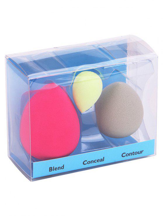 Conjunto de soplo de esponja de belleza de 3 piezas de maquillaje de Fundación - Colores Mezclados