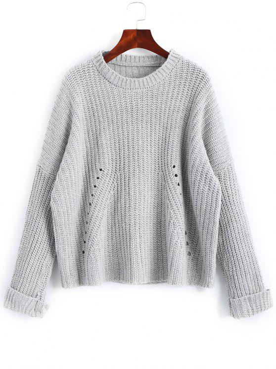 outfits Oversized Chunky Destroyed Sweater - GRAY ONE SIZE