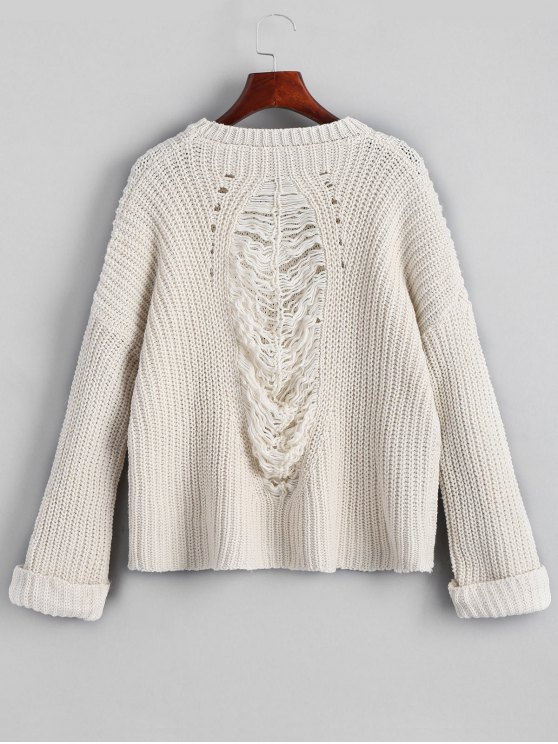 latest Oversized Chunky Destroyed Sweater - OFF-WHITE ONE SIZE