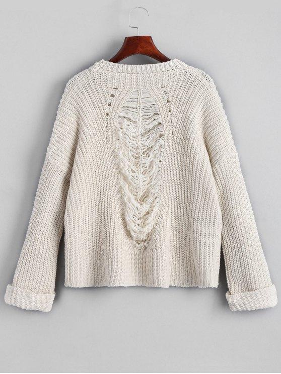 latest Oversized Chunky Destroyed Sweater - WHITE ONE SIZE