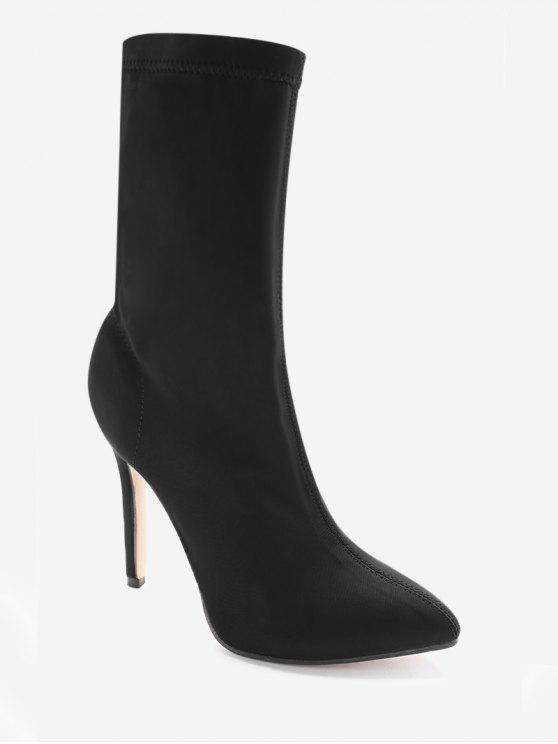 buy Point Toe Stiletto Heel Stretch Sock Boots - BLACK 40