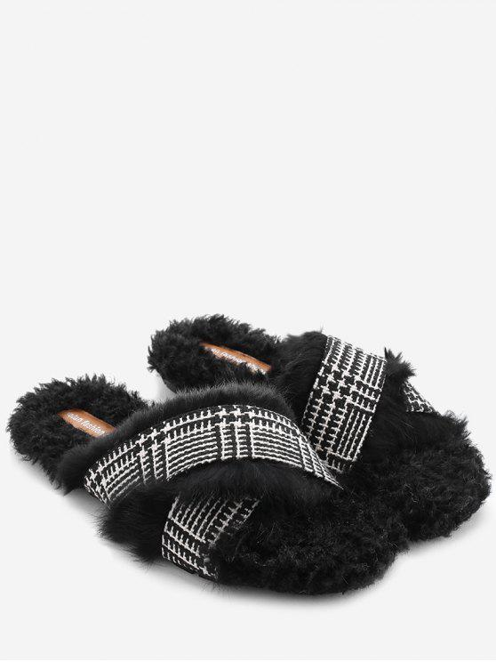 hot Houndstooth Cross Strap Faux Fur Slippers - BLACK 35