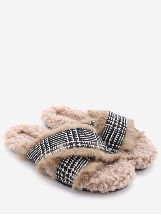 shop Houndstooth Cross Strap Faux Fur Slippers - CAMEL 37