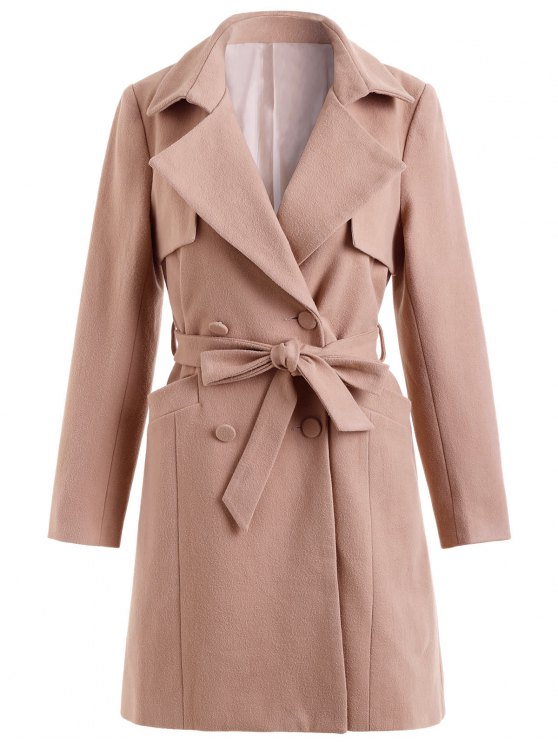 unique Double Breasted Belted Coat with Pockets - PINK M
