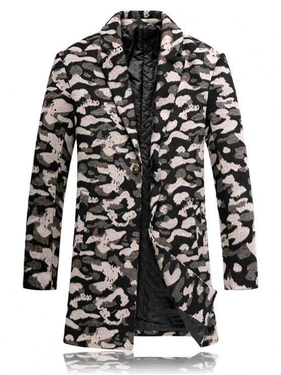 women's Lapel Leopard Padded Woolen Coat - COLORMIX XL