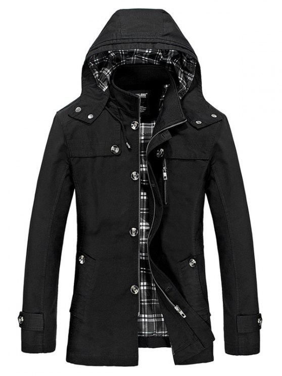 lady Hooded Multi Pockets Single Breasted Zip Up Coat - BLACK 2XL