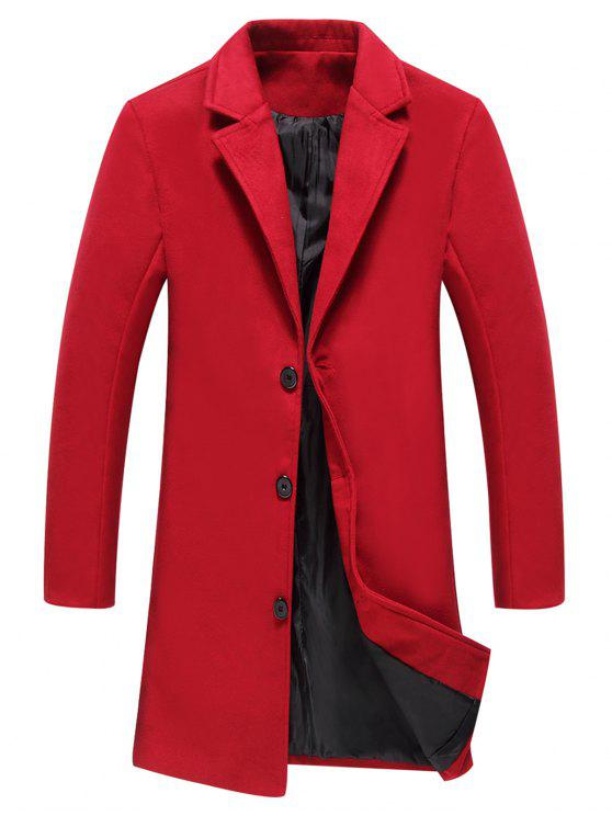 معطف الصوف وحيد الصدر لونغلاين - أحمر 2XL