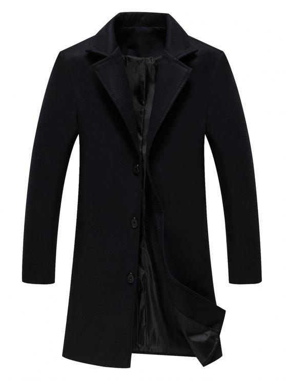 معطف الصوف وحيد الصدر لونغلاين - أسود 2XL