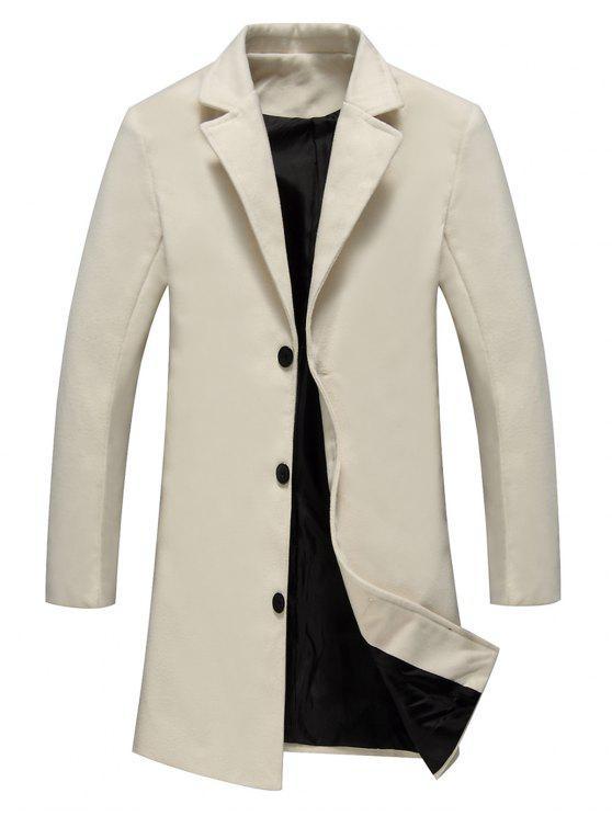 معطف الصوف وحيد الصدر لونغلاين - أبيض فاتح 2XL