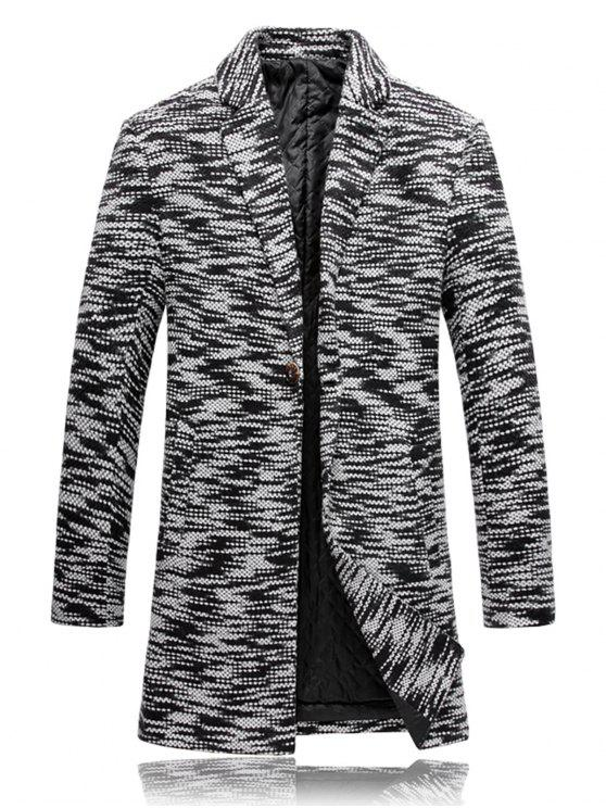 Cappotto Imbottito In Maglia Con Bottone E Risvolto - Nero bianco 2XL