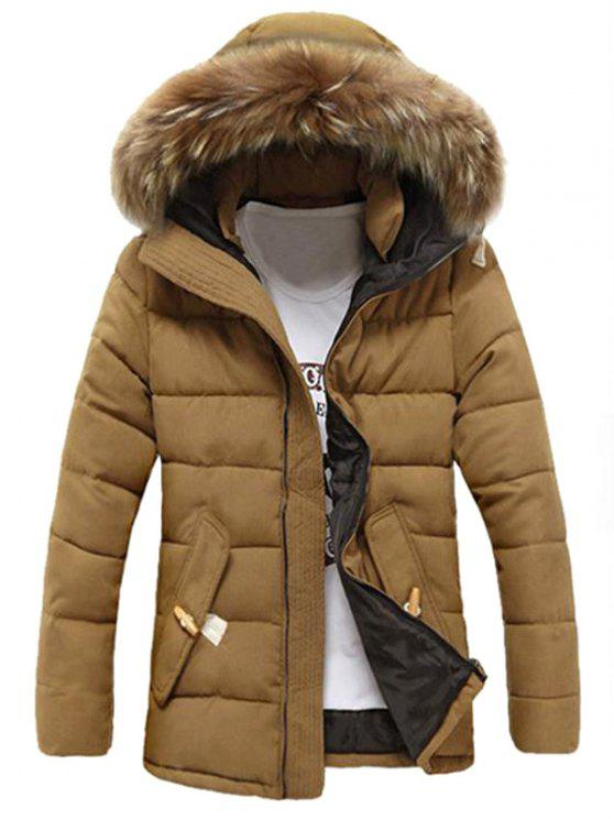 buy Detachable Faux Fur Collar Zip Up Padded Coat - KHAKI XL