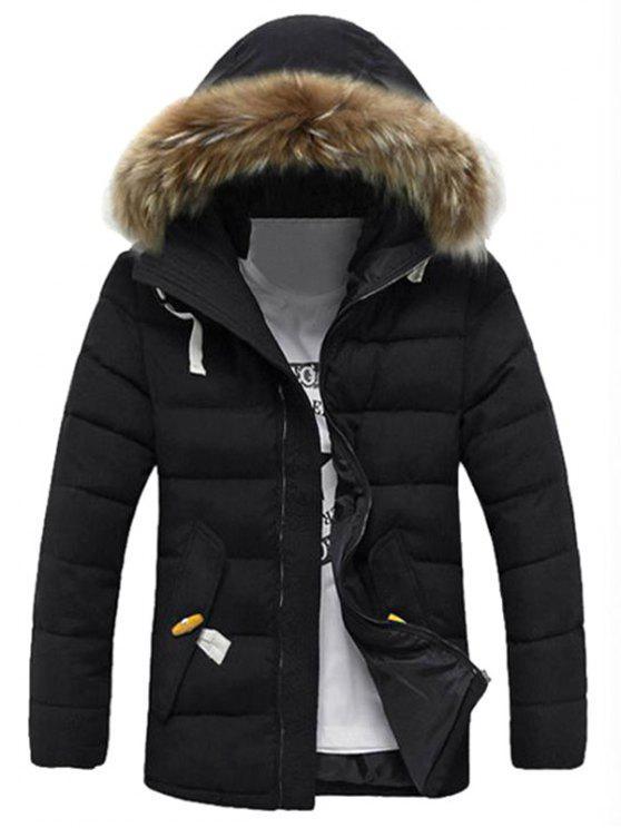 new Detachable Faux Fur Collar Zip Up Padded Coat - BLACK 3XL