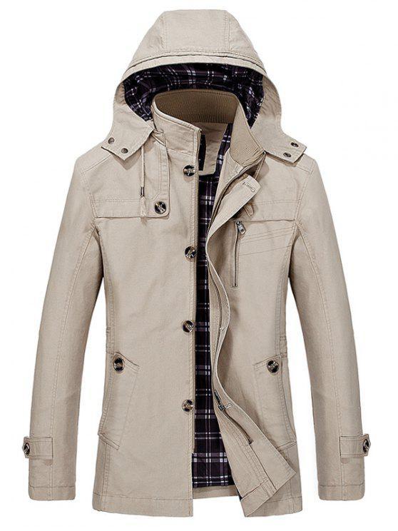 shop Hooded Multi Pockets Single Breasted Zip Up Coat - LIGHT KHAKI 2XL