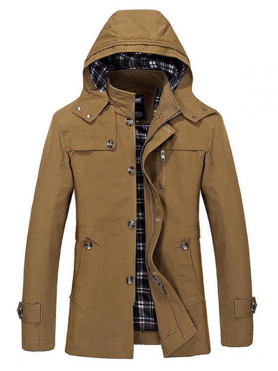 sale Hooded Multi Pockets Single Breasted Zip Up Coat - DARK KHAKI 5XL
