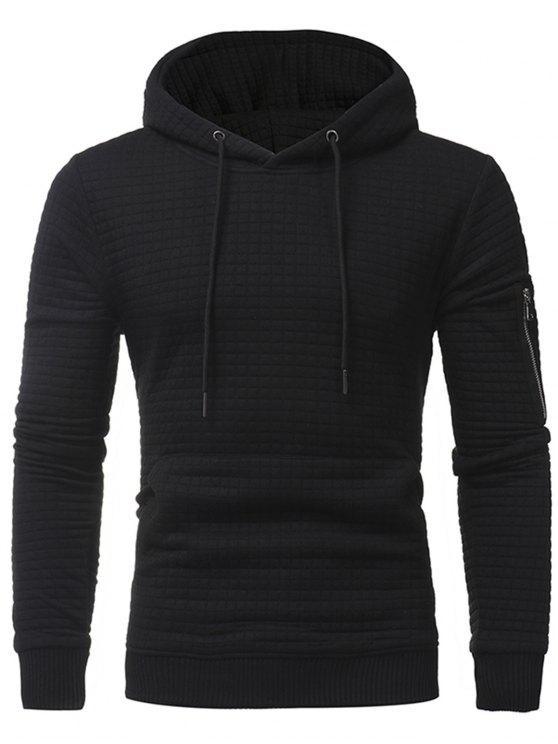 هوديي منقوشة زخرف الرمز البريدي جيب السترة - أسود 3XL