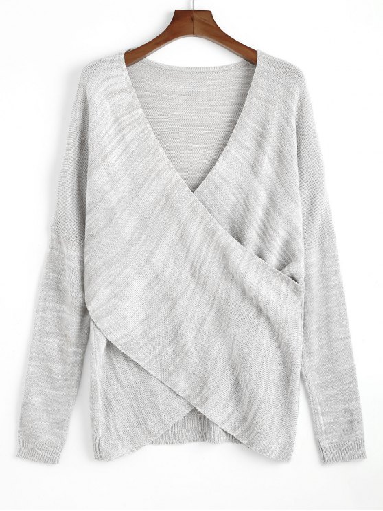 latest Pullover Crossed Front V Neck Sweater - LIGHT GRAY ONE SIZE
