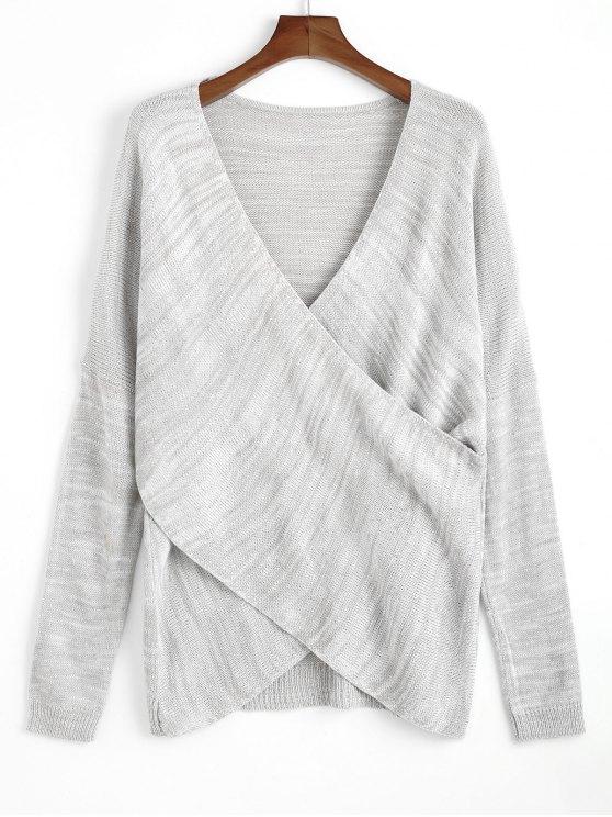 Пуловер Скрещенные Передние V Шеи Свитер - Светло-серый Один размер