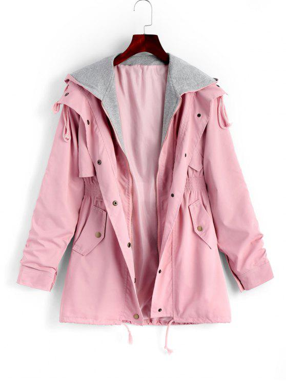 unique Zip Up Hooded Coat with Pockets - PINK M