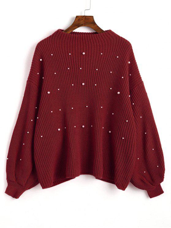 affordable Lantern Sleeve Oversized Faux Pearls Sweater - WINE RED ONE SIZE