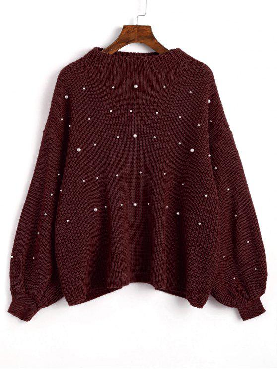 buy Lantern Sleeve Oversized Faux Pearls Sweater - DARK RED ONE SIZE