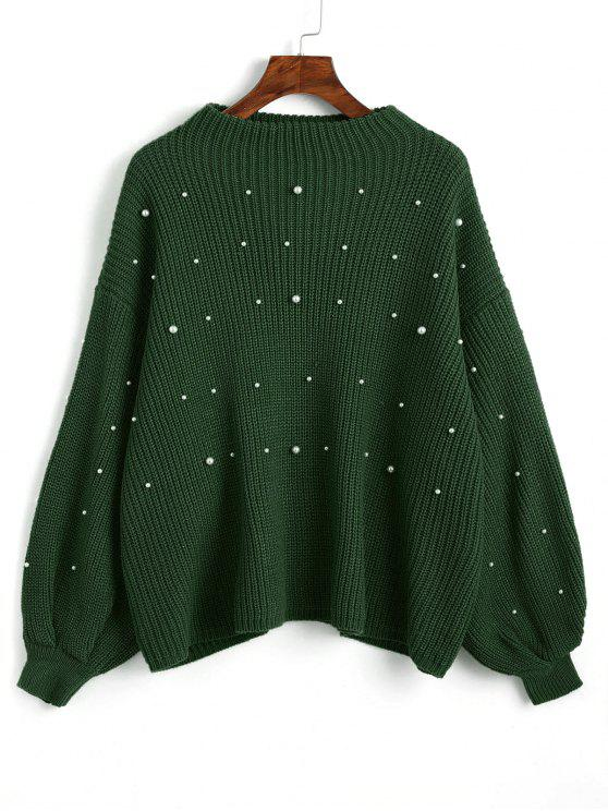 womens Lantern Sleeve Oversized Faux Pearls Sweater - GREEN ONE SIZE