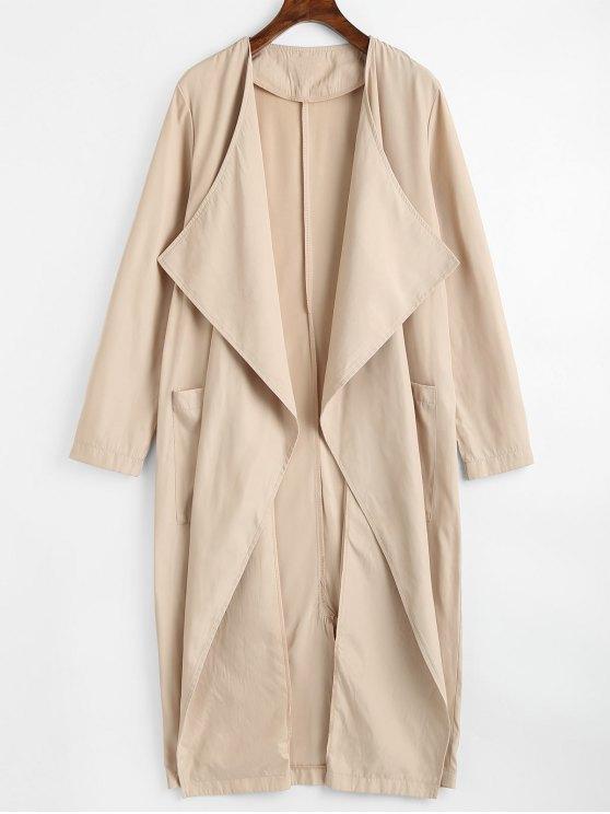 Trench-coat Drapé à Fente en Arrière avec Poches - Kaki Léger XL