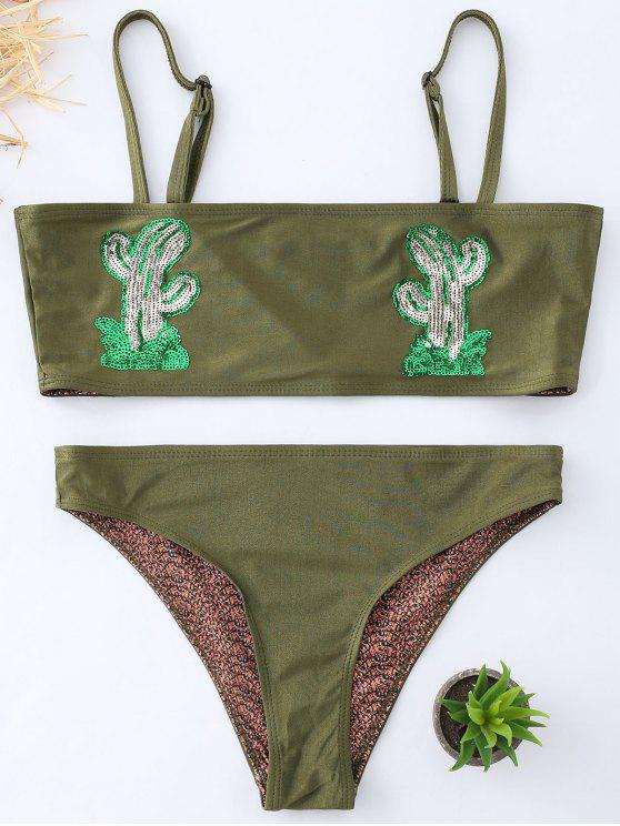 women Cactus Graphic Tube Bikini Swimwear - BLACKISH GREEN M